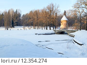 Купить «Pavlovsk.  Pil tower and Pilbashenny Bridge in winter», фото № 12354274, снято 20 февраля 2020 г. (c) PantherMedia / Фотобанк Лори