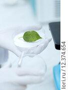 Купить «close up of hand with microscope and green leaf», фото № 12374654, снято 4 декабря 2014 г. (c) Syda Productions / Фотобанк Лори