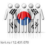 Купить «Flag of South Korea on stick figure», иллюстрация № 12431070 (c) PantherMedia / Фотобанк Лори