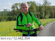 Купить «man nature senior fit bike», фото № 12442354, снято 21 января 2019 г. (c) PantherMedia / Фотобанк Лори