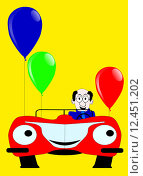 Купить «Birthday day card with sports car and baloons.», иллюстрация № 12451202 (c) PantherMedia / Фотобанк Лори