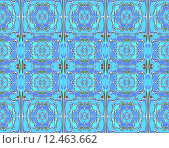 Купить «Geometric checker background with different abstract blossoms, seamless pattern in turquoise and blue shades with green, arabesque in oriental style», фото № 12463662, снято 20 апреля 2019 г. (c) PantherMedia / Фотобанк Лори