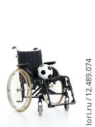 Купить «wheelchair with ball», фото № 12489074, снято 13 ноября 2019 г. (c) PantherMedia / Фотобанк Лори