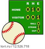 Купить «Baseball scoreboard», фото № 12526718, снято 15 декабря 2018 г. (c) PantherMedia / Фотобанк Лори