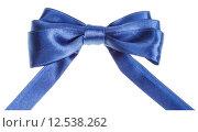Купить «real blue ribbon bow with horizontal cut ends», фото № 12538262, снято 13 декабря 2017 г. (c) PantherMedia / Фотобанк Лори
