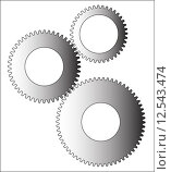 Купить «A set of gears of dissimilar sizes over a white background», иллюстрация № 12543474 (c) PantherMedia / Фотобанк Лори