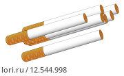 Купить «A few tipped cigarettes isolated on a white background», иллюстрация № 12544998 (c) PantherMedia / Фотобанк Лори