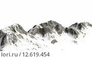 Купить «verschneite Berge - Berggipfel - auf weißem Hintergrund getrennt», фото № 12619454, снято 16 июля 2019 г. (c) PantherMedia / Фотобанк Лори