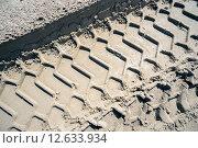 Купить «Отпечаток протектора автомобиля на песке», фото № 12633934, снято 31 июля 2015 г. (c) Алексей Маринченко / Фотобанк Лори