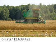"""Купить «Комбайн """"Дон-1500 Б"""" убирает урожай», эксклюзивное фото № 12639422, снято 28 августа 2015 г. (c) Елена Коромыслова / Фотобанк Лори"""