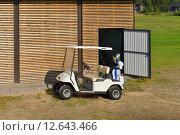 Купить «Машина для гольфа (также машинка для гольфа, гольф-карт от англ. golf cart или гольф-кар от англ. golf car) около гаража», фото № 12643466, снято 18 июля 2015 г. (c) Валерия Попова / Фотобанк Лори