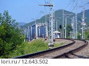 Купить «Поворот пути железной дороги и железнодорожный мост», фото № 12643502, снято 14 августа 2015 г. (c) Александр Замараев / Фотобанк Лори