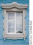 Окно с резными наличниками (2015 год). Стоковое фото, фотограф Смирнов Андрей Владимирович / Фотобанк Лори