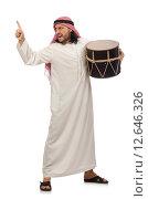 Купить «Arab man playing drum isolated on white», фото № 12646326, снято 13 июня 2015 г. (c) Elnur / Фотобанк Лори