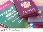 Купить «Трудовая книжка, паспорт и трудовой кодекс», фото № 12650518, снято 24 июля 2015 г. (c) Сергеев Валерий / Фотобанк Лори