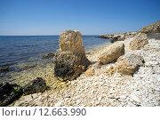 Купить «Камни на берегу полуострова Тарханкут, Крым», фото № 12663990, снято 17 мая 2015 г. (c) Алексей Маринченко / Фотобанк Лори