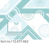 Технология. Голубой абстрактный фон с ноутбуком. Стоковая иллюстрация, иллюстратор Евгений Бакал / Фотобанк Лори
