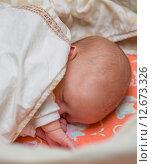 Купить «Новорожденный ребенок спит под одеялом», фото № 12673326, снято 14 января 2015 г. (c) Анастасия Улитко / Фотобанк Лори