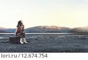 Купить «Hitch hiking traveling», фото № 12674754, снято 27 марта 2014 г. (c) Sergey Nivens / Фотобанк Лори