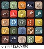 Купить «Sport line flat icons with long shadow», иллюстрация № 12677006 (c) PantherMedia / Фотобанк Лори