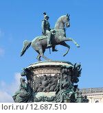 Купить «Памятник царю Николаю I на фоне голубого неба. Санкт-Петербург», фото № 12687510, снято 25 июля 2015 г. (c) Виктор Карасев / Фотобанк Лори