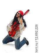 Купить «Male musician with guitar isolated on white», фото № 12692226, снято 17 февраля 2015 г. (c) Elnur / Фотобанк Лори