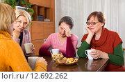 Купить «sad senior female friends drinking tea», фото № 12692262, снято 23 февраля 2019 г. (c) Яков Филимонов / Фотобанк Лори