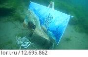 Купить «Подводный художник Юрий Адексеев рисует картину под водой в озере Байкал», видеоролик № 12695862, снято 5 сентября 2014 г. (c) Некрасов Андрей / Фотобанк Лори
