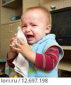 Купить «Мальчик (1 год и 3 месяца) плачет», фото № 12697198, снято 7 сентября 2015 г. (c) Вячеслав Палес / Фотобанк Лори