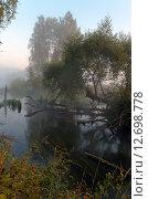 Купить «Туманное утро в долине реки Торгоша в Московской области», фото № 12698778, снято 15 сентября 2015 г. (c) Валерий Боярский / Фотобанк Лори