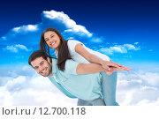Купить «Composite image of happy casual man giving pretty girlfriend piggy back», фото № 12700118, снято 22 октября 2018 г. (c) Wavebreak Media / Фотобанк Лори