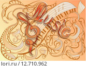 Купить «music. abstract music background with notes and clef», иллюстрация № 12710962 (c) PantherMedia / Фотобанк Лори