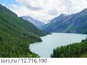 Вид  с перевала, Кучерлинское озеро,  Алтай. Стоковое фото, фотограф Анастасия Покровская / Фотобанк Лори