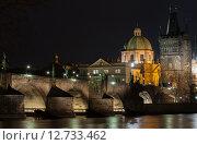 Ночной вид на Карлов мост через Влтаву в Праге (2015 год). Стоковое фото, фотограф Сластникова Татьяна / Фотобанк Лори
