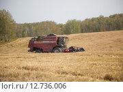 Купить «Комбайн работает на уборке зерновых культур», эксклюзивное фото № 12736006, снято 8 сентября 2015 г. (c) Иван Карпов / Фотобанк Лори