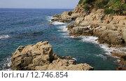Купить «Испания, Каталония, Коста Брава, побережье Lloret de Mar», видеоролик № 12746854, снято 24 сентября 2015 г. (c) Валерий Назаров / Фотобанк Лори