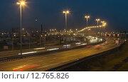 Кольцевая автомобильная дорога в Санкт-Петербурге в ночное время, таймлапс (2015 год). Стоковое видео, видеограф Кекяляйнен Андрей / Фотобанк Лори