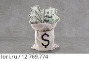 Купить «dollar paper money in bag over concrete», фото № 12769774, снято 30 июля 2015 г. (c) Syda Productions / Фотобанк Лори
