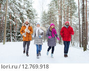 Купить «group of smiling men and women in winter forest», фото № 12769918, снято 29 декабря 2014 г. (c) Syda Productions / Фотобанк Лори