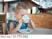 Купить «Маленькая девочка пьет чай», фото № 12775042, снято 18 сентября 2014 г. (c) Сосенушкин Дмитрий Александрович / Фотобанк Лори