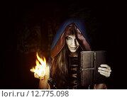 Купить «Красивая ведьма или колдунья с магической книгой заклинаний», фото № 12775098, снято 23 августа 2015 г. (c) katalinks / Фотобанк Лори