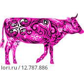 Орнаментальная розовая корова. Стоковая иллюстрация, иллюстратор Буркина Светлана / Фотобанк Лори