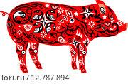 Орнаментальная красная свинья. Стоковая иллюстрация, иллюстратор Буркина Светлана / Фотобанк Лори