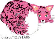 Розовая орнаментальная лиса. Стоковая иллюстрация, иллюстратор Буркина Светлана / Фотобанк Лори