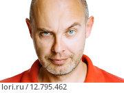 Купить «Нахмурившийся мужчина. Студийный портрет, изолированно на белом фоне», фото № 12795462, снято 26 января 2020 г. (c) Татьяна Гришина / Фотобанк Лори