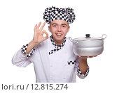 Купить «Young chef holding pan isolated on white», фото № 12815274, снято 22 января 2014 г. (c) Elnur / Фотобанк Лори