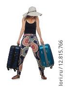 Купить «Woman ready for summer travel isolated on white», фото № 12815766, снято 18 июля 2015 г. (c) Elnur / Фотобанк Лори