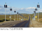 Участок федеральной трассы М55 в Забайкальском крае с инновационным осветительным оборудованием. Стоковое фото, фотограф Александр Игнатов / Фотобанк Лори