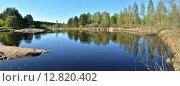 Купить «Панорама весенней реки в Рязанской Мещере», фото № 12820402, снято 17 июля 2018 г. (c) Сергей Дрозд / Фотобанк Лори