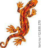 Оранжевая орнаментальная ящерица. Стоковая иллюстрация, иллюстратор Буркина Светлана / Фотобанк Лори